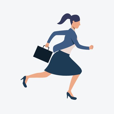 Running woman in casual wear. Hurrying, working day, rush hour. Can 
