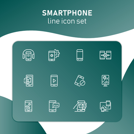 Smartphone line icon set. Settings, navigation, multimedia content. Mobile technology concept. Can be used for topics like app design, phone features