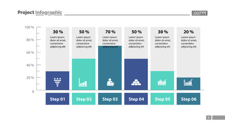 Six columns bar chart slide template. Business data. Percent, diagram, design. Creative concept for infographic, presentation. Can be used for topics like management, analysis, research. Vector Illustratie