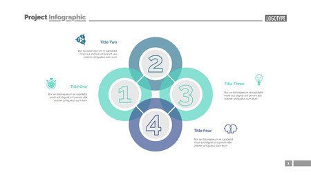 Quadruple intersect slide template. Business data. Graph, diagram. Creative concept for infographic, templates, presentation, report. Can be used for topics like workflow, strategy, analysis Vetores