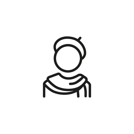 Artist line icon. Painter, hat, French beret, scarf. Art concept. Can be used for topics like drawing, painting, job, occupation, vocation