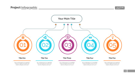 Five ideas process chart slide template. Business data. Step, flow, design. Creative concept for infographic, presentation, report. Can be used for topics like marketing, teamwork, research. Ilustrace