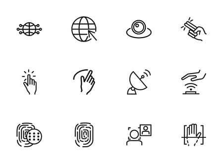 Radio connection icons. Set of line icons on white background. Hand, Morse alphabet, signal. Connection concept. Vector illustration can be used for topics like communication, social media, security