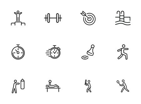 Iconos de deporte y actividad. Conjunto de iconos de línea sobre fondo blanco. Cronómetro, deportista. Concepto de estilo de vida activo. La ilustración vectorial se puede utilizar para temas como competición, natación, boxeo. Ilustración de vector