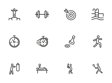 Sport and activity icons. Set of line icons on white background. Stop watch, sportsman. Active lifestyle concept. Vector illustration can be used for topics like competition, swimming, boxing