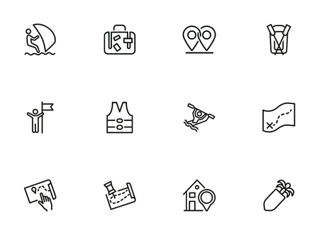 Travelling and activity icons. Set of line icons on white background. Suit case, map, route, hotel. Trip concept. Vector illustration can be used for topics like hiking, active lifestyle, tourism