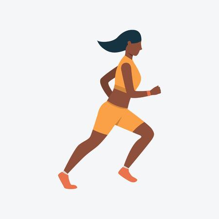 Icône plate de coureur féminin. Fille, femme, joggeuse. Notion de sport. Peut être utilisé pour des sujets comme la course, le jogging, l'athlétisme Vecteurs