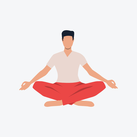 Lotus pose flat icon. Yogi, guy, man, zen. Yoga concept. Can be used for topics like fitness, meditating, stress relief