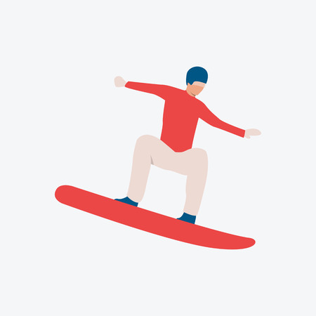 Snowboarder flat icon. Sportsman in helmet, guy, man. Activity concept. Can be used for topics like competition, winter, sport