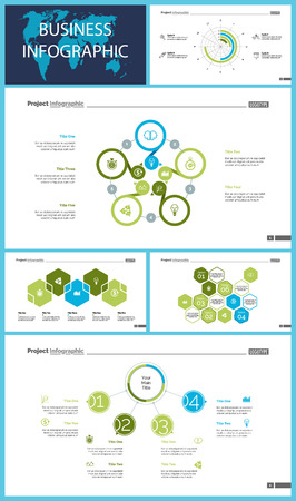 Business infographic design set can be used for workflow layout, presentation, annual report, web design. Marketing concept. Line chart, bar graph, comparison diagram, donut chart, process chart