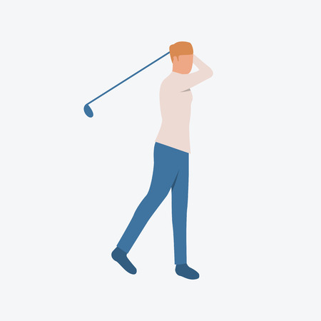 Young man practicing to play golf. Sport, leisure, entertainment. Can be used for topics like training, pastime, lifestyle