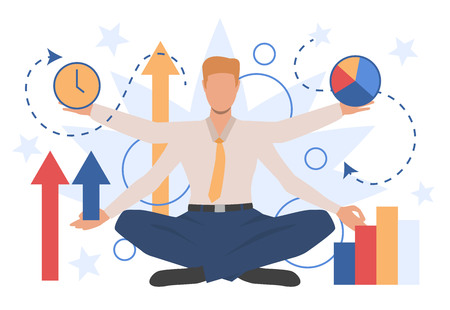 Businessman character showing different business indicators. Result, progress, time. Can be used for topics like management, multitasking, presentation 向量圖像