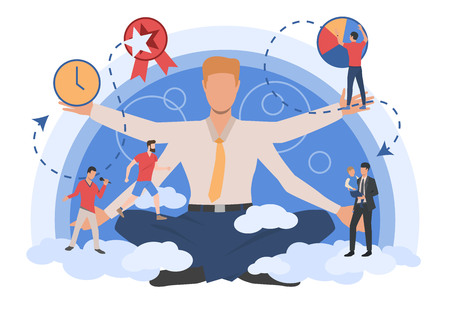 Businessman character showing different types of activity. Lifestyle, work, leisure. Can be used for topics like daily routine, time management, schedule 向量圖像