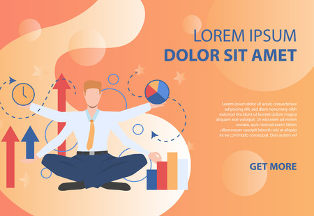 Businessman character with four hands on orange background. Result, progress, time. Can be used for topics like multitasking, planning, presentation