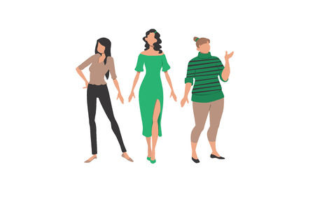 Three women representing different styles and body types. Clothes, style, figure. Can be used for topics like fashion, sizes, body difference. Illustration