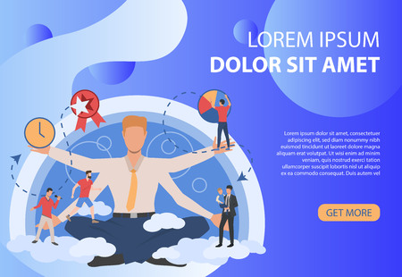 Dark-blue poster with businessman and different activities. Free time, work, routine. Can be used for topics like social lifestyle, schedule, activities