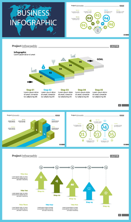 Creative business infographic slide templates set can be used for annual report, web design, workflow layout. Management concept. Option, comparison, donut, area, organizational charts, flowchart Vettoriali