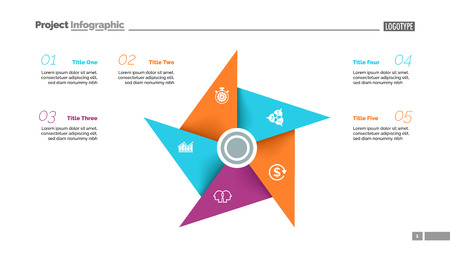 Metaphor diagram with five elements. Pinwheel, cycle chart, slide template. Creative concept for infographics, presentation, report. Can be used for topics like business, marketing, management