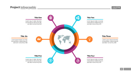 Pie chart with six elements. Infographic circle, option diagram, layout. Creative concept for infographics, presentation, project, report. Can be used for topics like business, marketing, finance.