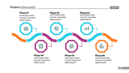Six phase process chart design. Element of chart, diagram, infographic. Concept for presentation, annual report, slide template. Can be used for topics like business, plan, strategy  イラスト・ベクター素材