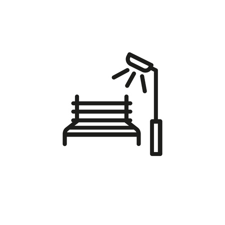 Park bench line icon. Street light, seat, town. Rest concept. Can be used for topics like city, downtown, exterior