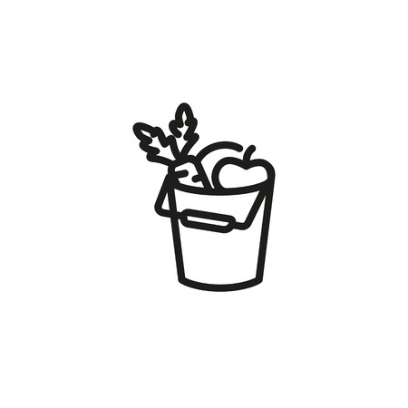 Vegetables in bucket icon. Harvest, gardening, organic food. Crop concept. Can be used for agriculture, farm, healthy eating