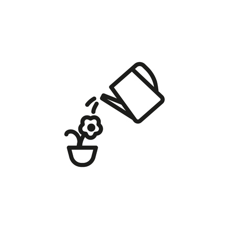 Watering flower line icon. Can, house plant, horticulture. Household concept. Can be used for topics like cultivation, environment day, irrigation