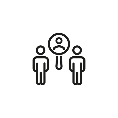 Employee recruitment line icon. Zoom, examining, choosing. Resources concept. Can be used for topics like personnel, opportunity, searching candidate Illustration