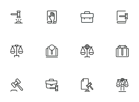 Law line icon set. Set of line icons on white background. Judgement, portfolio, bag. Federal service concept. Vector illustration can be used for topics like crime, punishment, detective