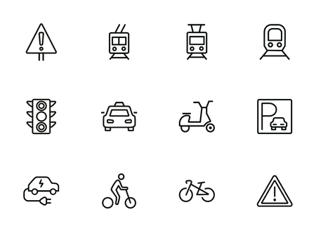 Transport line icon set. Set of line icons on white background. Transportation concept. Car, trail, bicycle. Vector illustration can be used for topics like city, traffic, energy