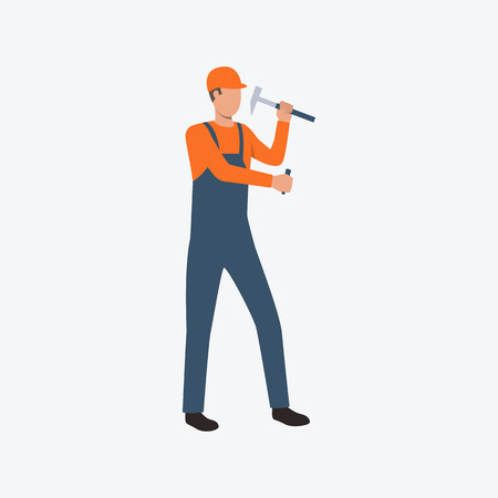 Builder working with hammer flat icon. Orange helmet, coverall, nails. Labor concept. Can be used for topics like construction, blue collar, building, safety
