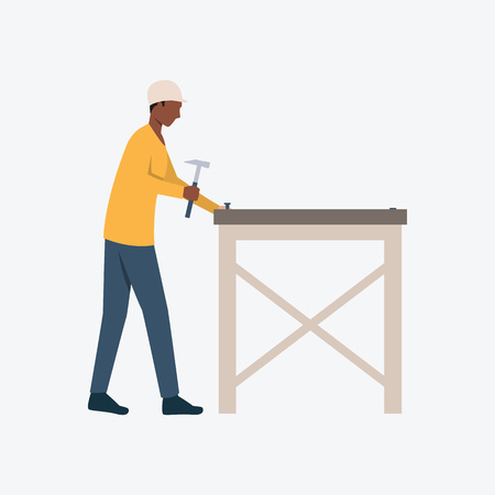 Carpenter driving nails flat icon. Woodwork, hammer, furniture. Labor concept. Can be used for topics like hand tools, repair, craft