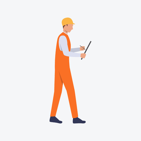 Foreman with pen and paper flat icon. Contractor, builder, leader. Labor concept. Can be used for topics like construction site, building, engineering, home repair