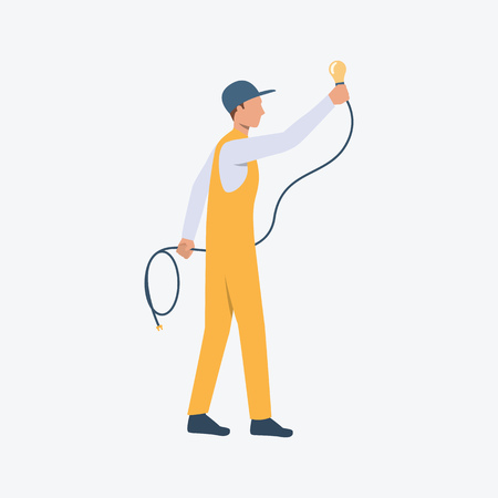 Electrician flat icon. Worker, bulb, wire. Labor concept. Can be used for topics like construction site, home repair, renovation