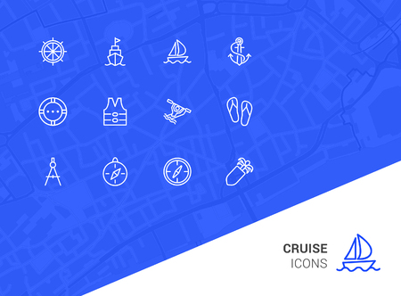 Cruise icons. Set of line icons on white background. Compass, rafting, anchor, life saver ring. Sea touring concept. Vector illustration can be used for topics like travel, vacation, tourism Illustration
