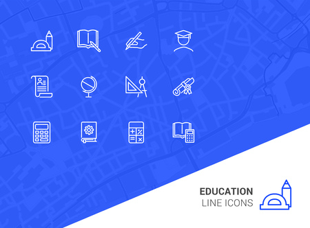 Education line icons. Set of line icons on white background. Studying concept. Globus, calculator, book. Vector illustration can be used for topics like high school, science, college Zdjęcie Seryjne - 116504334
