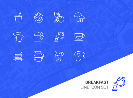 Breakfast line icon set. Set of line icons on white background. Food concept. Coffee, tea, bread. Vector illustration can be used for topics like food, cafe, breakfast