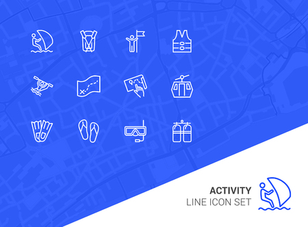 Activity line icon set. Sailing, kayaking, diving. Active lifestyle concept. Can be used for topics like sport, adventure, leisure