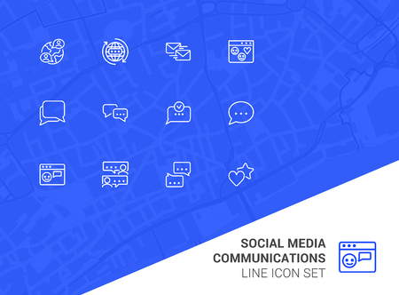 Social media communications line icon set. Set of line icons on white background. Chatting, message, typing. Internet concept. Vector illustration can be used for topics like web, communication Ilustração