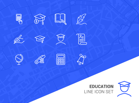 Education line icon set. Set of line icons on white background. Study concept. Bachelor, calculation, diploma. Vector illustration can be used for topics like university, college Vectores