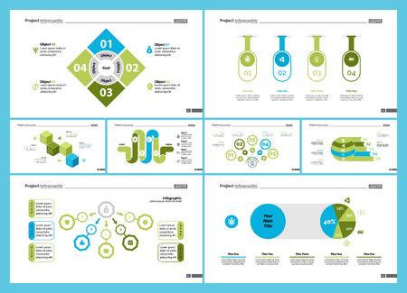 Set of management or teamwork concept infographic charts. Business diagrams for presentation slide templates. For corporate report, advertising, banner and brochure design. Illustration