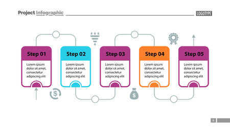 Five steps process chart slide template. Business data. Flow, diagram, design. Creative concept for infographic, presentation. Can be used for topics like management, workflow, teamwork. Иллюстрация