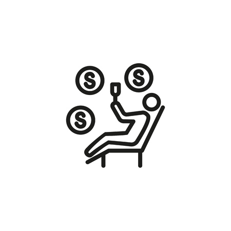 Self employed person line icon. Leisure, resting, drinking, cash, money. Passive income concept. Can be used for topics like business, investment, finance, success