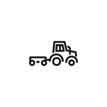 Farm tractor line icon. Heavy machine, field, trail. Agricultural machinery concept. Can be used for topics like farming, agronomy, agriculture