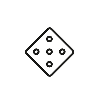 Game dice line icon. Chance, random, dots. Leisure concept. Can be used for topics like activity, strategy, board game