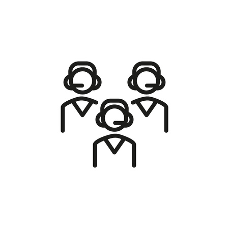 Contact center line icon. Operators, employees, team, headphone, headset. IT support concept. Can be used for topics like helpline, hotline, call center