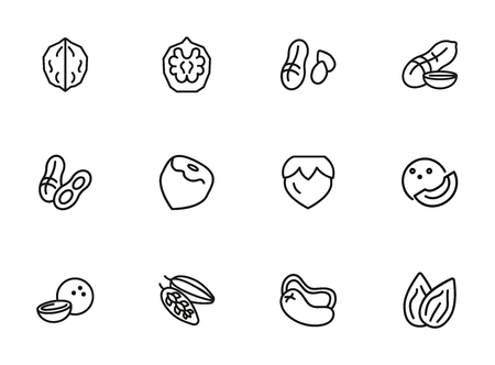 Nuts line icon set. Peanut, hazel nut, almond. Food concept. Can be used for topics like vegan diet, organic nutrition, health care