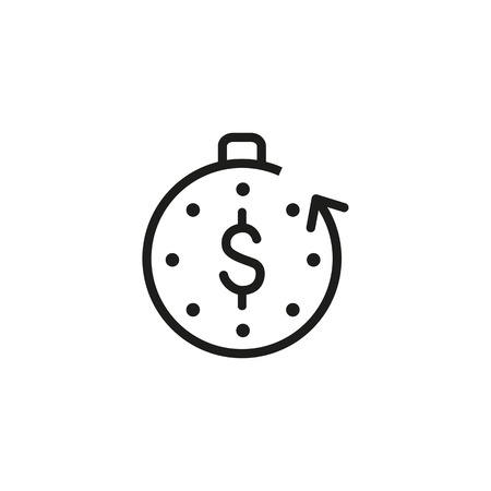 Unearned money line icon. Timer, stopwatch, dollar, arrow, cycle. Passive income concept. Can be used for topics like business, time is money, revenue, dividends
