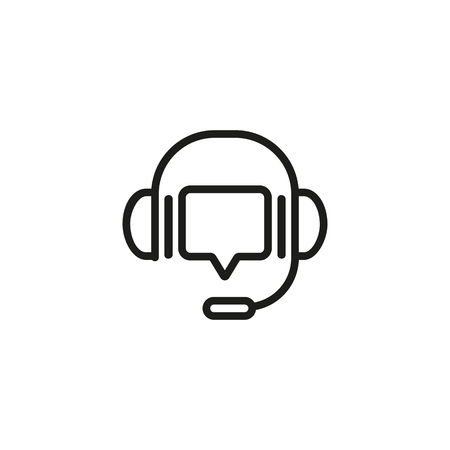 Speech bubble with headphones line icon. Headset, voice, dialogue, message. IT support concept. Can be used for topics like hotline, call center, service, customer care Illusztráció