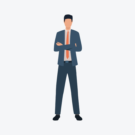Confident business man standing with arms crossed. Businessman, executive manager, management. Can be used for topics like business, entrepreneurship, career